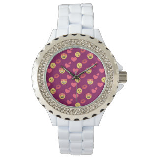 Cute Sweet Pink Emoji Love Hearts Kiss Pattern Watch