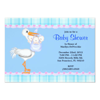 CUTE Sweet Plush Blue Bunny Rabbit Baby Shower Card