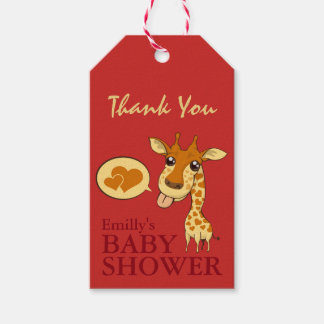 Cute Sweetheart Giraffe Baby Shower Thank You Card Pack Of Gift Tags