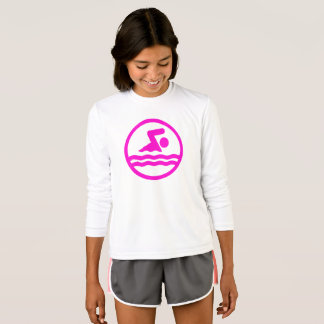 Cute Swimmer Girls Pink Swim Long-Sleeve Shirt