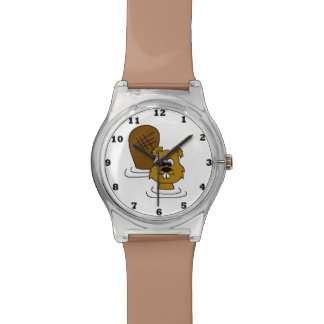 Cute swimming Beaver wrist watch