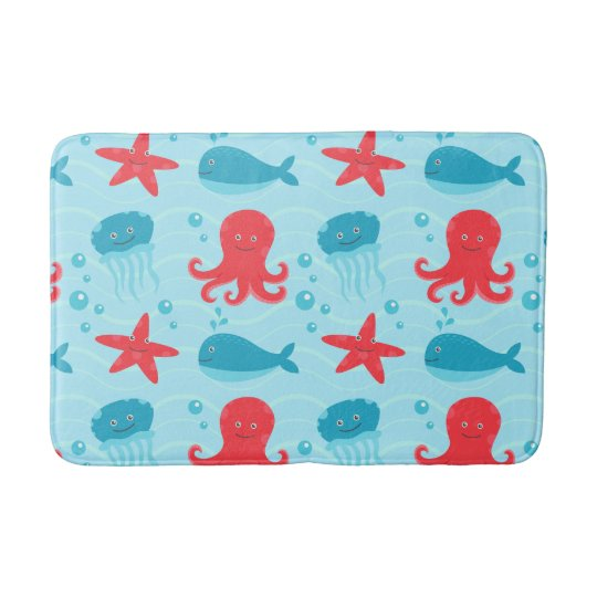 Cute swimming blue red Sea creatures jellyfish Bath Mat