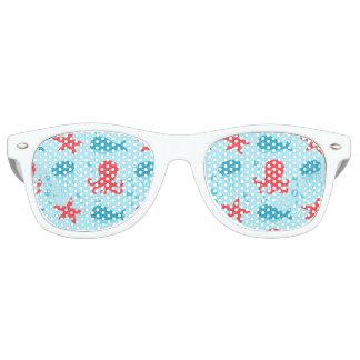 Cute swimming blue red Sea creatures jellyfish Retro Sunglasses