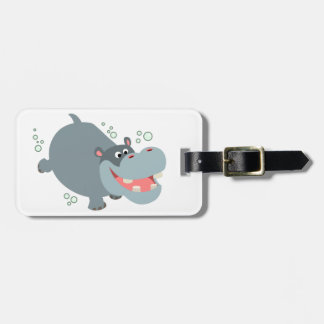 Cute Swimming Cartoon Hippo Luggage Tag