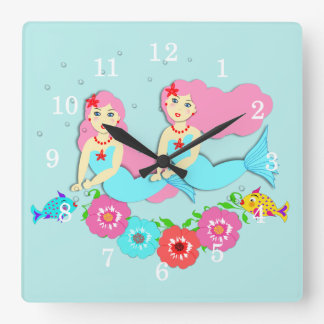 Cute Swimming Mermaids Theme Square Wall Clock