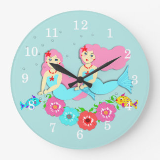 Cute Swimming Mermaids Theme Wall Clocks