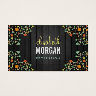 Cute Swirl Flowers on Dark Wood Business Card