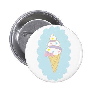 Cute Swirl Ice Cream Cone 2 Inch Round Button