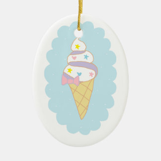 Cute Swirl Ice Cream Cone Ceramic Oval Ornament