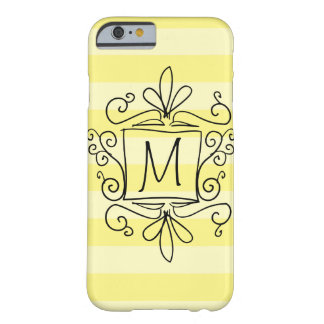 Cute swirly monogram iPhone 6 case | yellow stripe