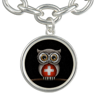 Cute Swiss Flag Owl Wearing Glasses Charm Bracelet