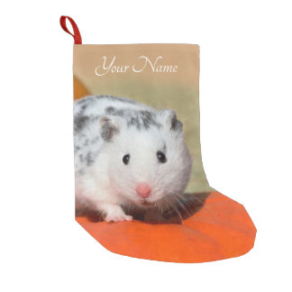 Cute Syrian Hamster White Black Spots Funny - Name Small Christmas Stocking