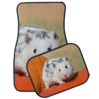 Cute Syrian Hamster White Black Spotted Funny Pet Car Mat