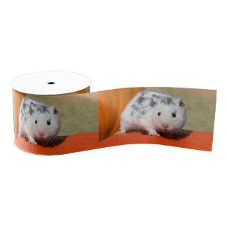 Cute Syrian Hamster White Black Spotted Funny Pet Grosgrain Ribbon