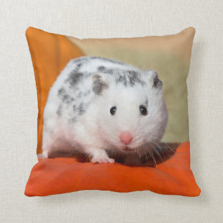Cute Syrian Hamster White Black Spotted Funny Pet Throw Pillow