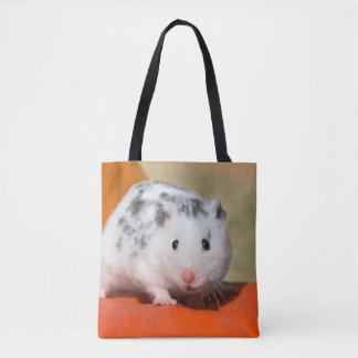 Cute Syrian Hamster White Black Spotted Funny Pet Tote Bag