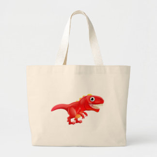 Cute T Rex Cartoon Dinosaur Large Tote Bag