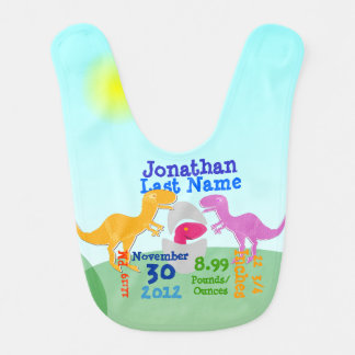 Cute T-Rex Dinosaurs and Baby Dino Egg Baby Bibs