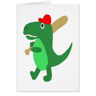 Cute T-Rex Playing Baseball Card