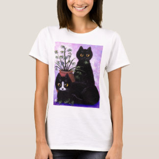 Cute T-shirt Black White Cat by Creationarts
