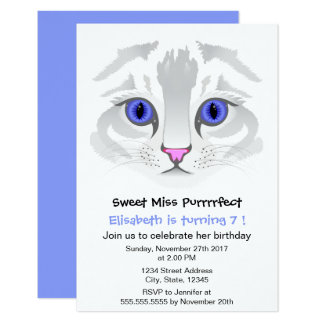 "Cute tabby cat cartoon blue girl birthday party 3.5"" x 5"" invitation card"