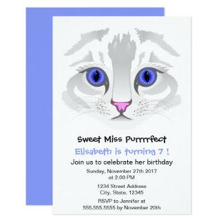 Cute tabby cat cartoon blue girl birthday party card