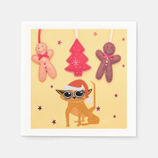 Cute Tabby Cat Christmas Party Paper Napkins