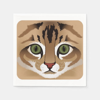 Cute tabby cat face close up illustration brown paper napkin