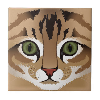 Cute tabby cat face close up illustration ceramic tile