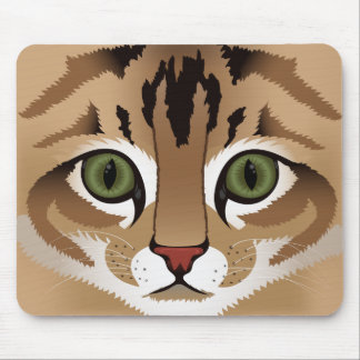 Cute tabby cat face close up illustration mouse pad