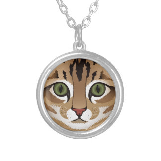 Cute tabby cat face close up illustration silver plated necklace