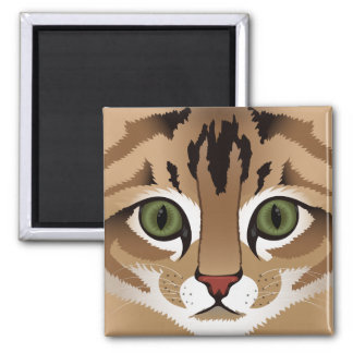 Cute tabby cat face close up illustration square magnet