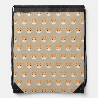 Cute Tabby Cat Illustration Drawstring Bag