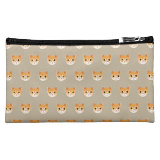 Cute Tabby Cat Illustration Makeup Bag