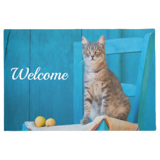 Cute Tabby Cat Kitten on Blue Wooden Chair Welcome Doormat