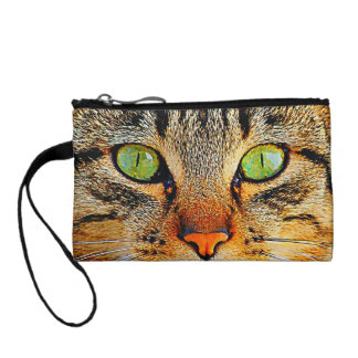 Cute Tabby Cat with Green Eyes Coin Wallet