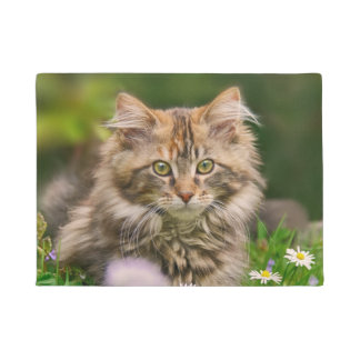 Cute Tabby Maine Coon Kitten Cat Animal Head Photo Doormat