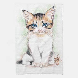 Cute Tabby Watercolor Art Kitchen Towel