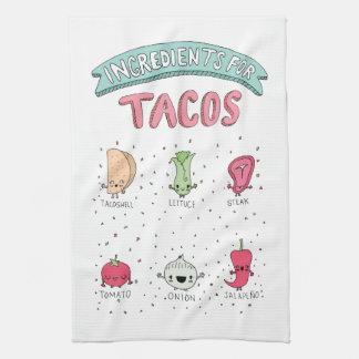 Cute Taco illustration Kitchen Towel