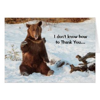 Cute Talking Bear Thank You Card
