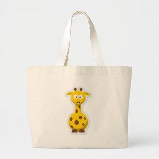 Cute tall giraffe zoo animals large tote bag