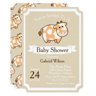 Cute Tan Cow Calf & White Ribbon Baby Shower Card