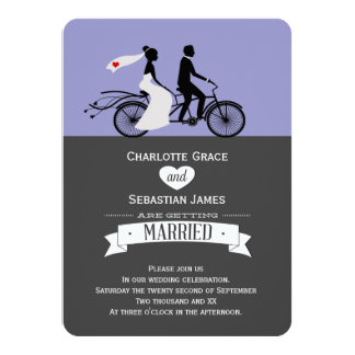 "Cute Tandem Bike Bride And Groom Wedding 4.5"" X 6.25"" Invitation Card"