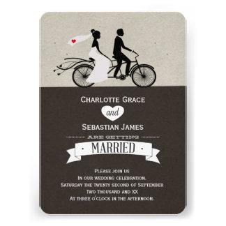 Cute Tandem Bike Bride And Groom Wedding Custom Announcement