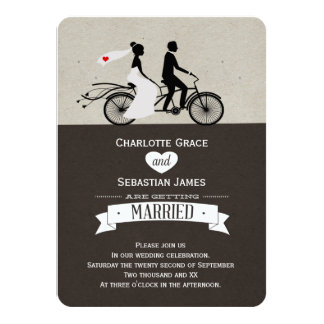 "Cute Tandem Bike Bride And Groom Wedding 4.5"" X 6.25"" Invitation Card"