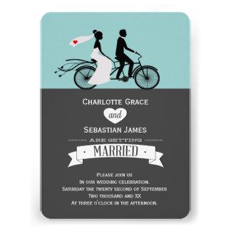 Cute Tandem Bike Bride And Groom Wedding Personalized Invite