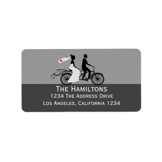 Cute Tandem Bike Bride And Groom Wedding Label