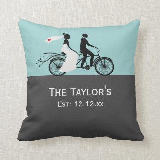 Cute Tandem Bike Bride And Groom Wedding Throw Pillow