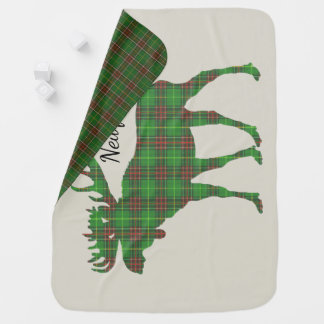 Cute Tartan moose Newfoundland  blanket