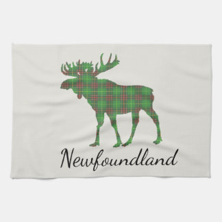 Cute Tartan moose Newfoundland kitchen towel